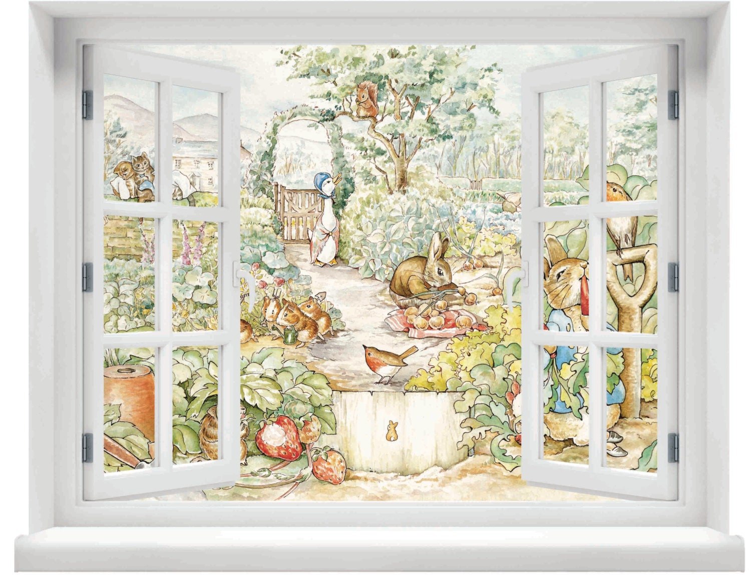 Beatrix Potter Wall Mural Window With A View Beatrix Potter Peter Rabbit Scene Wall