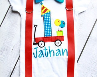 Baby boy first birthday Red Wagon Bow tie and Suspenders set Boy Cake Smash Boy first year outfit Boy number 1, red wagon and one Boy Second