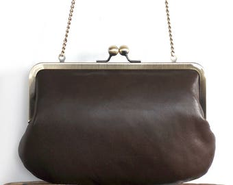 Clutch bag, chestnut brown leather purse, silk-lined, handbag with chain handle