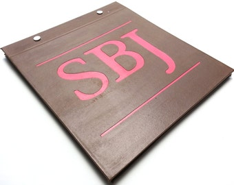 Race Bib Holder - Monogramed with initials - Customize colors Three letters - Hand-bound Book  for Running Bibs - Brown and Red