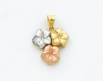 14K Tricolor Plumeria Pendant, Plumeria Pendant, 14k White Gold, 14k Yellow Gold, 14k Rose Gold, Plumeria, Flowers, Tricolor Plumeria