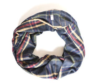 Navy Flannel Cowl, Navy Plaid Scarf, Winter Fashion Scarf, Oversized Scarf, Navy Blanket Scarf, Plaid Circle Scarf Navy Plaid Infinity Scarf
