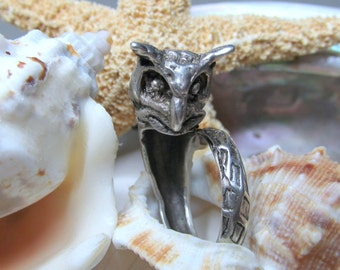Sterling Silver Mid Century Vintage 3D Owl Wrap Ring 9.09g  SZ 5.5