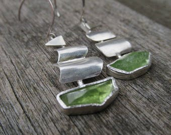 Seafaring Galleons Sterling Silver and Peridot Earrings