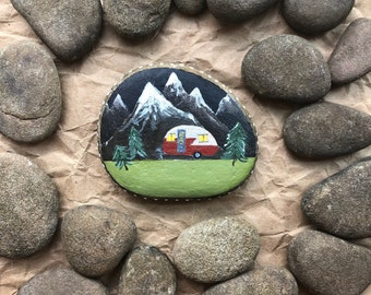 Hand Painted Rock: Camper at Night; camping art, outdoors, vintage camper art