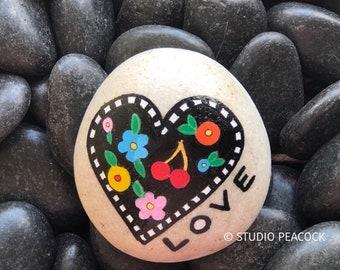 Heart Love Handpainted Rock