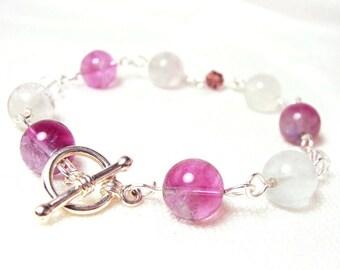 Rainbow Fluorite Bracelet with Glass Crystals, Semi-precious Stone Jewellery
