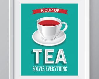 Teal Tea kitchen wall art, kitchen decor, tea print, tea cup decor, tea poster, tea kitchen art, tea cup kitchen decor, tea quote art, teal