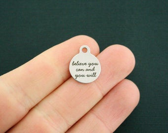 Believe Stainless Steel Charms - you can and you will - Smaller Size - Exclusive Line - Quantity Options - BFS1807
