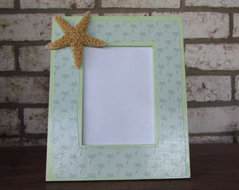 Decoupage Coastal Beach Picture Frame with Palm Trees and Starfish