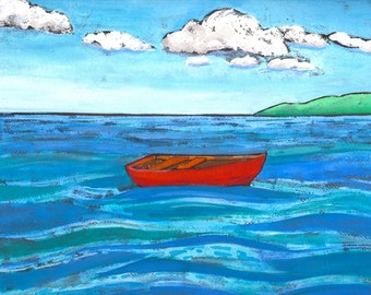 Red Boat on the Water Digital Giclée Wall Art Print