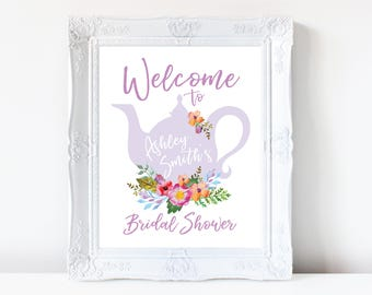 Tea Party Bridal Shower Welcome Sign, Baby Shower Welcome Sign, Printable, Flora, Watercolor, Bride Luncheon, Summer Bridal Shower