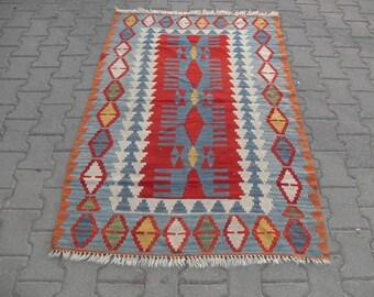 free shipping VINTAGE TURKİSH ousak kilim Anatolian handwoven kilim rug decorative kilim - SİZE : 40'' X 66'' ( 100 cm X 165 cm)