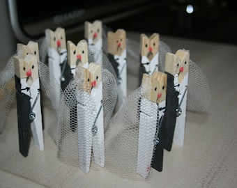 """The kiss of the groom"" clothespins 10pcs"