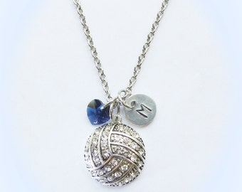 Personalized Volleyball Necklace with Number or Initial Charm & Indigo Navy Blue Crystal Heart, Team Gift, Senior Gifts