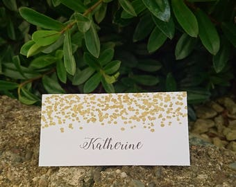 Personalised Wedding Table Place Name Seating Cards Gold Confetti
