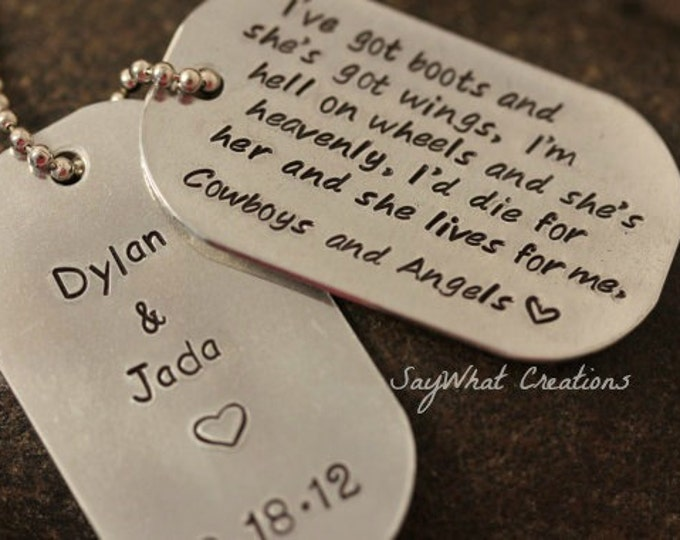 Custom Hand Stamped Dog Tags Necklace personalized with any phrase Great For Dads Includes TWO Dog Tags