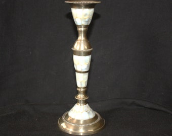 Lovely Vintage Mother of Pearl and Brass Candle Holder