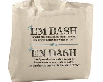 Em Dash En Dash Usage Tote Bag Large Totes Beach Bags Canvas Tote Bag Grammar Tote Reusable Grocery Bag Tote Teacher Bag Gifts for Teachers