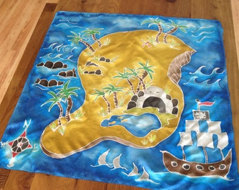 Pirate Island, Painted Silk Play mat, painted Play silk, Waldorf inspired, palysilk, silk toy, Pirate and mermaid toy, travel toy