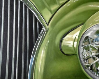 1937 Chevy Classic Car Original Oil Painting 22 x 28""