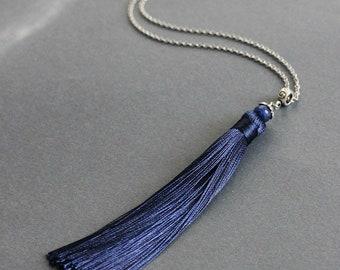 Navy Blue Crystal Tassel Necklace Tassel Pendant Necklace Blue Silver Necklace Agate Necklace Unique Tassel Necklace Long Tassel Jewelry
