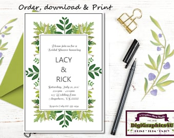 Bridal Shower or Bridal Luncheon Invitation, Greenery or Foliage - Printable File - Customized for You