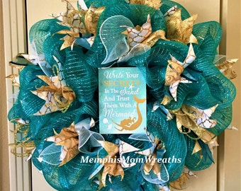 Teal Mermaid Deco Mesh Wreath - Deco Mesh Wreath - Mermaid Wreath - Beach Wreath - Summer Wreath