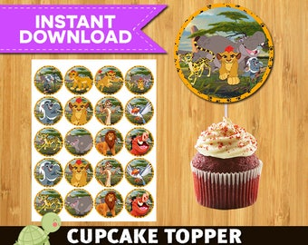 12  The Lion Guard Cupcake Toppers -  The Lion Guard Party Package -  The Lion Guard Printable Party Circles