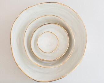 White and Gold Ceramic Nesting Bowls - Primitive China
