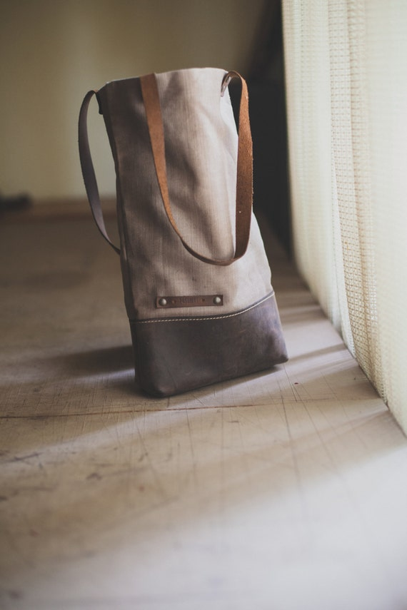 Hemp Canvas and Leather tote bag, Canvas bag, Shoulder Bag, Leather Bag, Street Bag,
