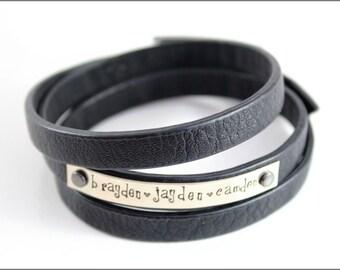 Personalized Leather Bracelet | Customized Wrap Bracelet, Custom Name Bracelet, Choose Your Color