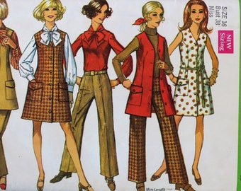 1960s Vintage Dress, Jumper, Blouse, and Pants Sewing Pattern - Simplicity 8348 - Bust 38