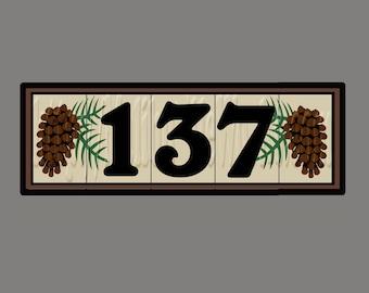 CUSTOM LISTING For LUCY - Framed 5-Tile Custom Address Tile Set - Pine Cone Design
