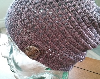 Metallic Rose Slouchy Beanie with Silver Lady Button