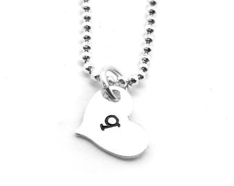 Heart Shaped Initial Necklace, Sterling Silver, Letter q Necklace, All Letters Available, Personalized Jewelry, Hand Stamped, Custom Jewelry