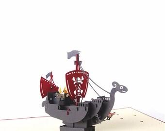Pirate Ship Pop Up Card, Pirate Pop Up Card, Boy Birthday Pop Up Card, Birthday Pop Up Card, Ship Pop Up Card