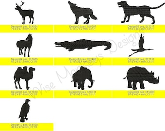 Animal Silhouette machine embroidery designs set of 10