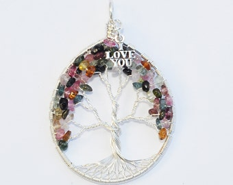 Tree Of Life Pendant -Sterling Silver with Multicolor Tourmaline