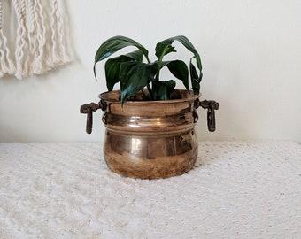 Brass Bowl with Handles / Small Brass Bowl / Brass Succulent Planter / Wedding Decor / Bridal Shower Decor