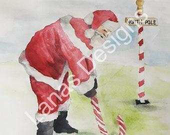 Santa Golf Christmas Card