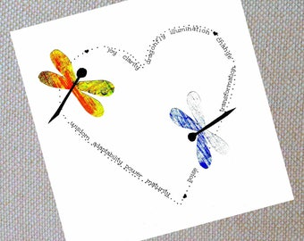 Encouragement Card. Hand painted paper dragonflies. 3x3 or 5x5 cards.