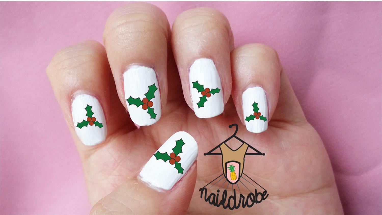 30 muérdago Navidad decoración de uñas