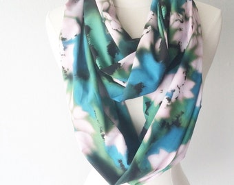 Emerald & Blue Abstract Print Lightweight Chiffon Infinity Scarf - Handmade - For Her, Spring Fashion, Mother's Day, Summer