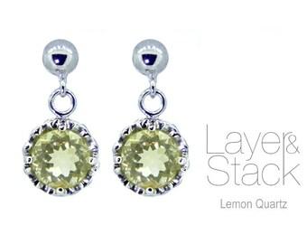 Layer & Stack Lemon Quartz Sterling Silver Mini-Drop Earrings
