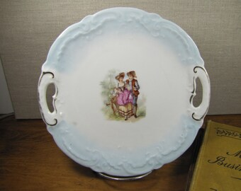 Vintage Plate - Colonial Couple - Two Handled - Blue Rim