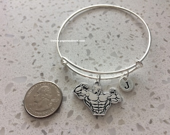 Bodybuilder bicep initial bangle,  bodybuilder jewelry, weight lifter bracelet, fitness jewelry, gift for weight lifter, muscle jewelry