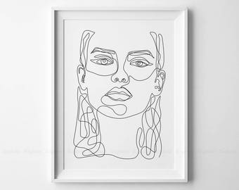 Line Drawing Face Woman : Face drawing sketch art woman in one line fashion printable