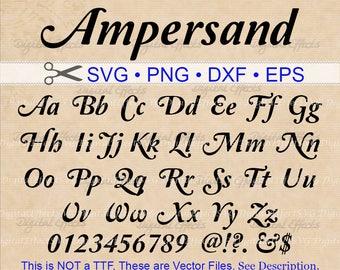 AMPERSAND Script SVG, Italic Script Monogram Font Svg, Dxf, Eps, Png; Bold Font, Retro Script, Retro Font, Italic Font,Silhouette Cricut Svg