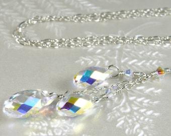 Y Drop Crystal Necklace, Bride Wedding Pendant, Bridal Swarovski, Clear Teardrop Bridesmaid Accessory, Handmade Wedding Jewelry